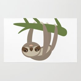 Three-toed sloth on green branch on white background Rug