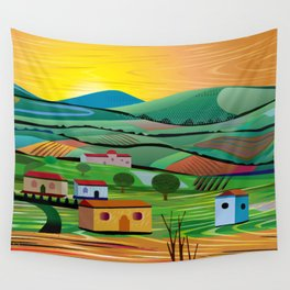 Sunset over Fields Wall Tapestry