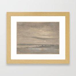 Johan Christian Dahl (Norwegian, Bergen 1788–1857 Dresden) The River Elbe in Moonlight Framed Art Print