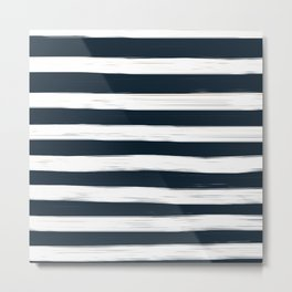 Painted Stripes - Dark Blue and White #decor #society6 #buyart Metal Print