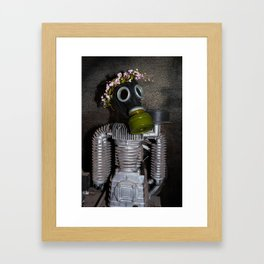 Household robot with gasmask Framed Art Print