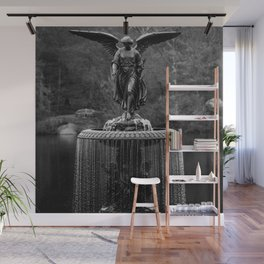 Believe in Magic, Bethesda Terrace Angel Fountain black and white photograph / art photography Wall Mural
