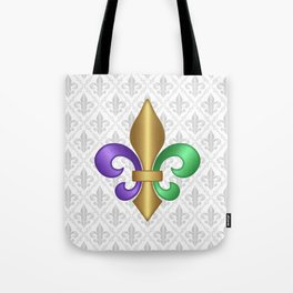 Purple Green and Gold Fleur-de-Lis on Gray Pattern Tote Bag
