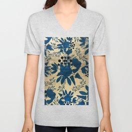Elegant gold navy blue watercolor floral pattern Unisex V-Neck