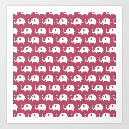 Elephants in love (Plum) Art Print