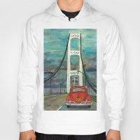 volkswagon Hoodies featuring VW Bug on Mackinac Bridge by Barb Laskey Studio