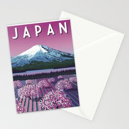 Japanese Lavender Fields Mount Fuji Vintage Travel Poster Commercial Air Travel Poster Stationery Cards