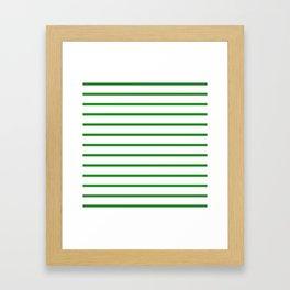 Horizontal Lines (Forest Green/White) Framed Art Print