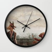 werewolf Wall Clocks featuring Werewolf by Yuko Fukushima