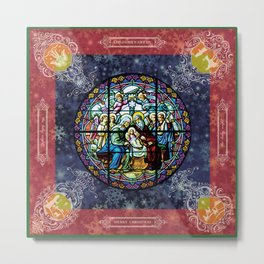 Christmas Square: stained glass Metal Print