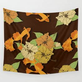 Night Time Goldfish Pond With Hibiscus Pattern Wall Tapestry