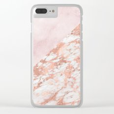 Rose gold & pinks marble Clear iPhone Case