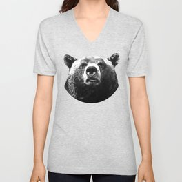 Black and white bear portrait Unisex V-Neck