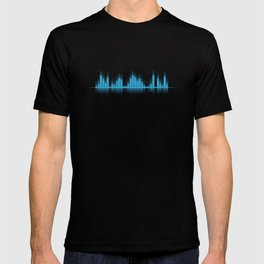 Cool Blue Graphic Equalizer Music on black T-shirt