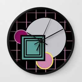Futuristic universe with primary colors and retro aesthetics reminiscent of a teenage world Wall Clock