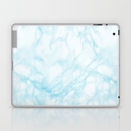Elegant pastel blue white modern marble Laptop & iPad Skin