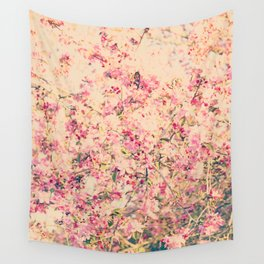 Vintage Pink Crabapple Tree Blossoms in the Sun Wall Tapestry