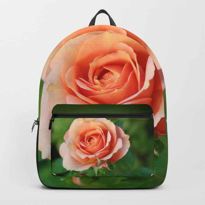 Garden pink rose flower blooming and two rose buds Backpack