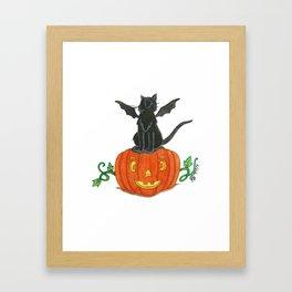 Pirate-Bat-Cat { + Pumpkin Pal Jack O Lantern . Halloween }   Framed Art Print