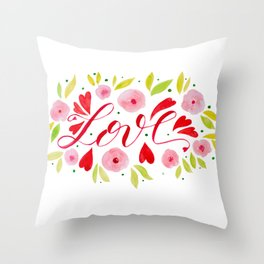 Love and roses - pink and red Throw Pillow