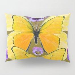 SPRING PURPLE PANSY FLOWERS & YELLOW BUTTERFLIES GARDEN Pillow Sham