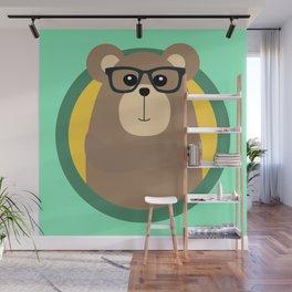 Nerd Brown Bear with cirlce Wall Mural