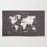 gray Area & Throw Rugs featuring The World Map by Mike Koubou