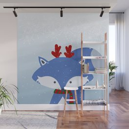 Cute Fox Wintery Holiday Design Wall Mural