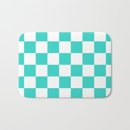 Checkered - White and Turquoise Bath Mat