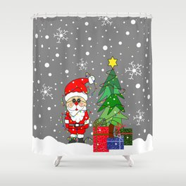Flaky Merry Christmas Santa Shower Curtain