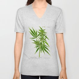Cannabis, The Female Hemp Plant, Hemp, Marijuana, Ganja, Antique Print by Elizabeth Blackwell Unisex V-Neck