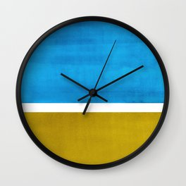 Colorful Bright Minimalist Rothko Olive Green Jewel Blue Midcentury Modern Art Vintage Pop Art Wall Clock