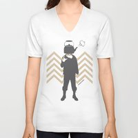 steam punk V-neck T-shirts featuring Steam Punk by Jade Deluxe
