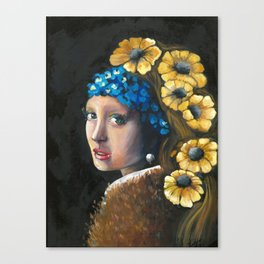 Contemporary Girl with the Pearl Earring Canvas Print
