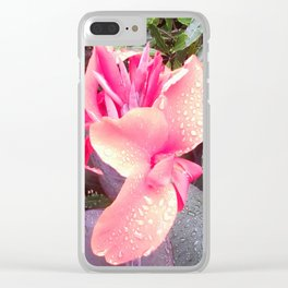 Pink Canna Lily and Raindrops Clear iPhone Case