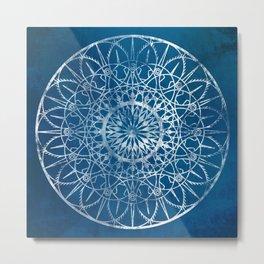 Fire Blossom - Blue Metal Print