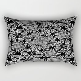 Fallen Leaves Black and White Kaleidescope Rectangular Pillow