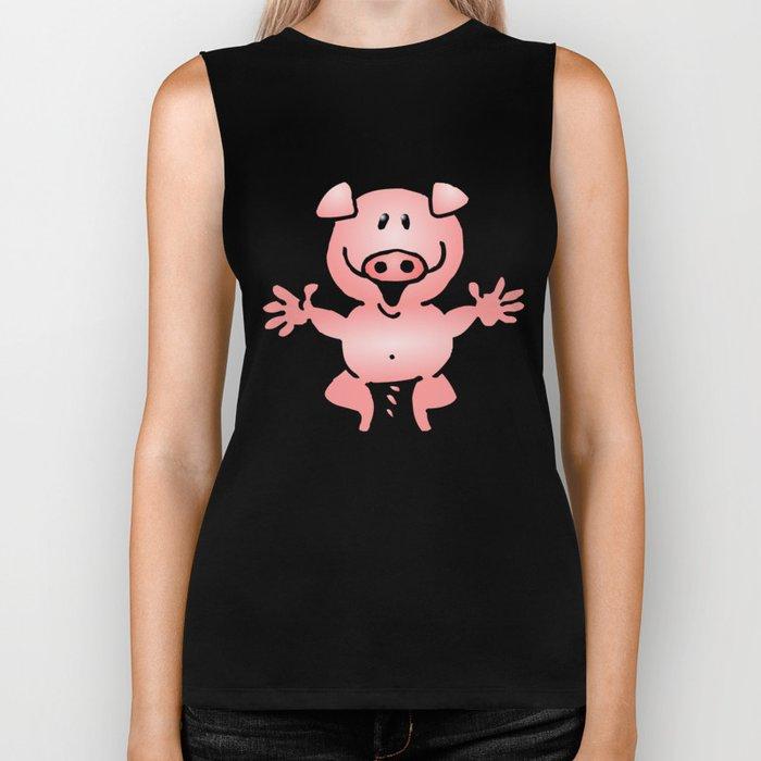 Cheerful little pig Biker Tank