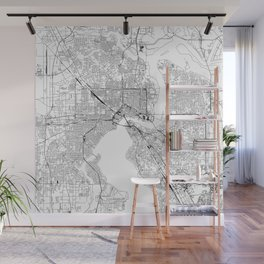Jacksonville White Map Wall Mural