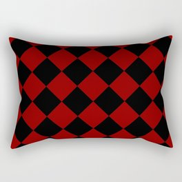 Red and Black Diamond Check Rectangular Pillow