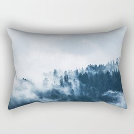 CLOUDS - WHITE - FOG - TREES - FOREST - LANDSCAPE - NATURE - TIMBER - WOODS - PHOTOGRAPHY Rectangular Pillow