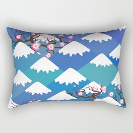 Spring Nature background with Japanese cherry blossoms, sakura pink flowers landscape. blue mountain Rectangular Pillow