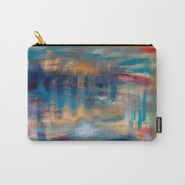 Spiral reach acrylic abstract art original painting in blue, navy, teal and gold Carry-All Pouch