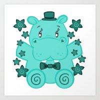 Sir Hippopotamus Art Print