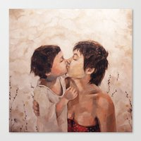 mom Canvas Prints featuring mom by jenn l
