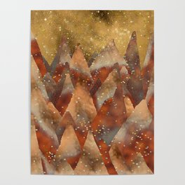 Abstract Copper  Gold Glitter Mountain Dreamscape Poster