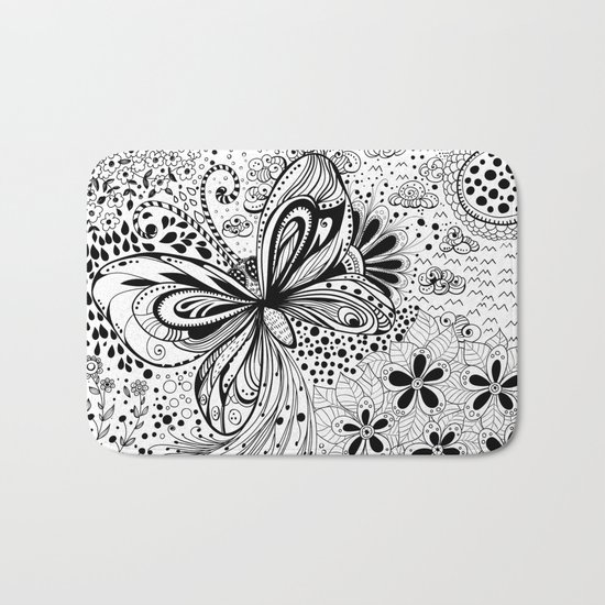 Butterfly and flowers, doodles Bath Mat