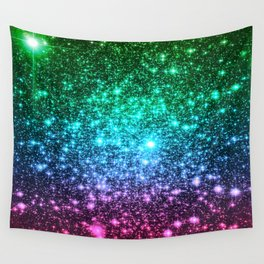 glitter Cool Tone Ombre (green blue purple pink) Wall Tapestry