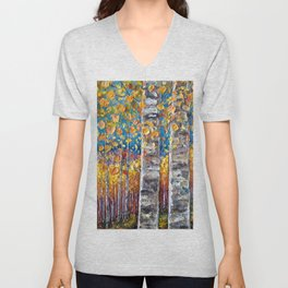 Colourful Autumn Aspen Trees Unisex V-Neck