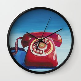 Retro Red Phone Wall Clock